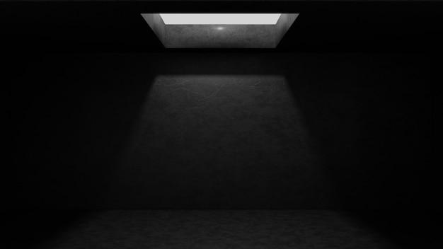 Stanza di cemento vuota scura con luce splendente da celling hole.3drender illustrazione.