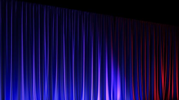 Palco vuoto scuro con ricco sipario di velluto blu. illustrazione 3d
