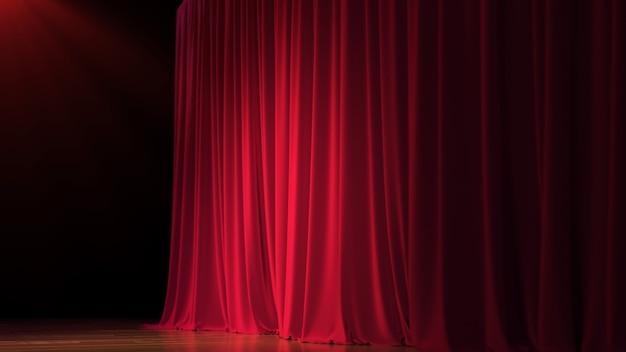 Fase vuota buia con ricca tenda rossa. illustrazione 3d