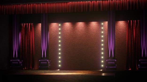 Palco vuoto scuro con luci spot. commedia, standup, cabaret, night club stage 3d render.