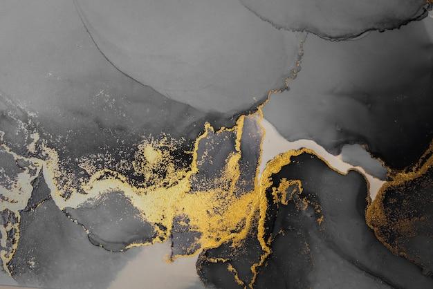 Fondo astratto dell'oro scuro della pittura di arte dell'inchiostro liquido di marmo su carta.