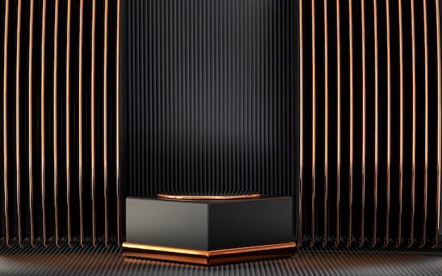 Esposizione del podio dello spazio vuoto astratto scuro e oro per la promozione del prodotto rendering 3d