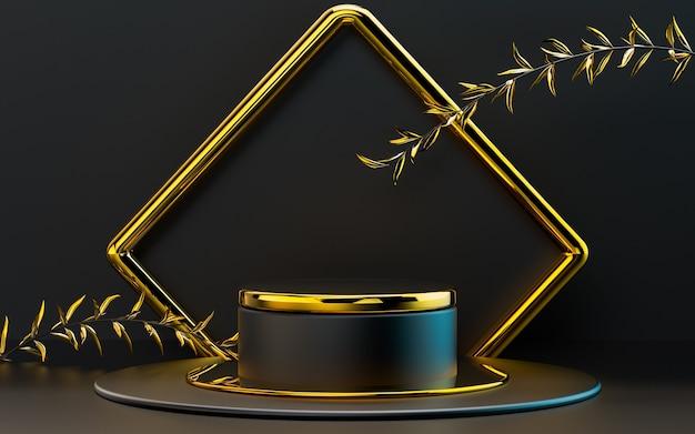 Foglie scure e oro 3d che rendono il palco geometrico astratto del podio per la presentazione del prodotto