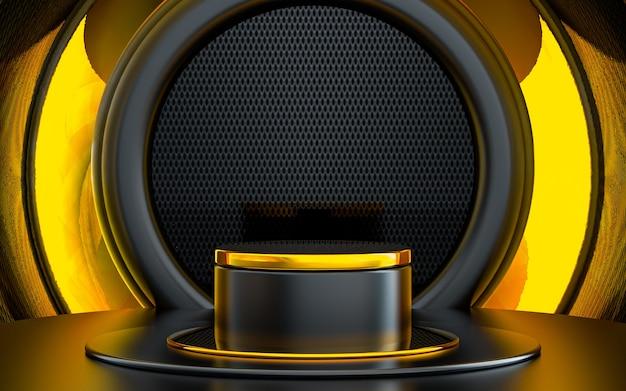 Forma 3d scuro e oro che rende il palco geometrico astratto del podio per la presentazione del prodotto
