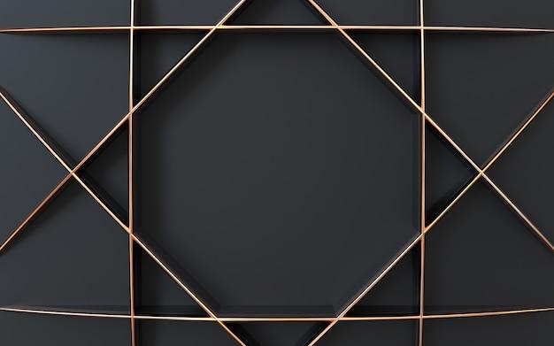 Forma 3d scuro e oro che rende sfondo astratto geometrico
