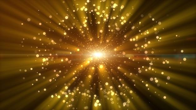 Sfondo astratto di particelle di polvere di colore giallo oro scuro e bagliore. effetto fascio di raggi luminosi. rendering 3d
