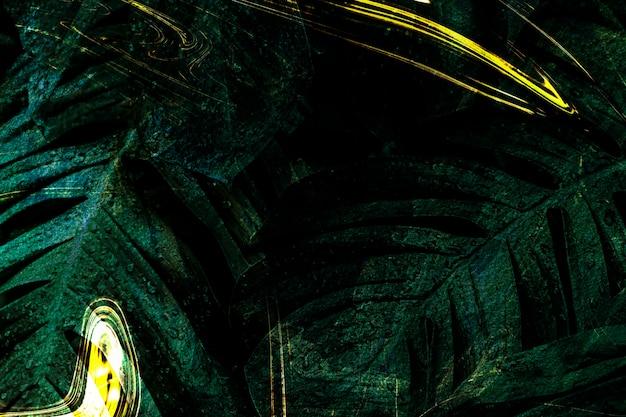 Illustrazione di sfondo foglia monstera verde scuro