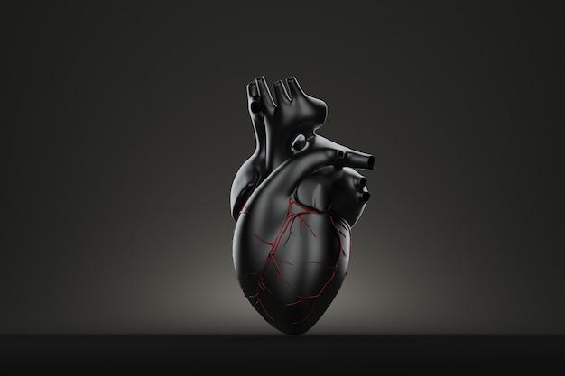Cuore umano scuro. illustrazione 3d. contiene il tracciato di ritaglio