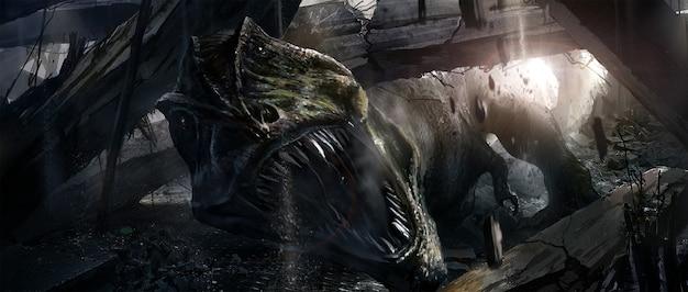 Illustrazione scura con tyrannosaurus rex che apre la bocca