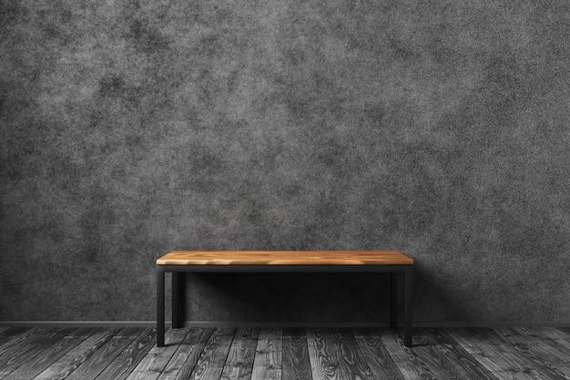 Interni scuri per il tuo design. tavolo in legno per il tuo design su un muro di cemento scuro. rendering 3d