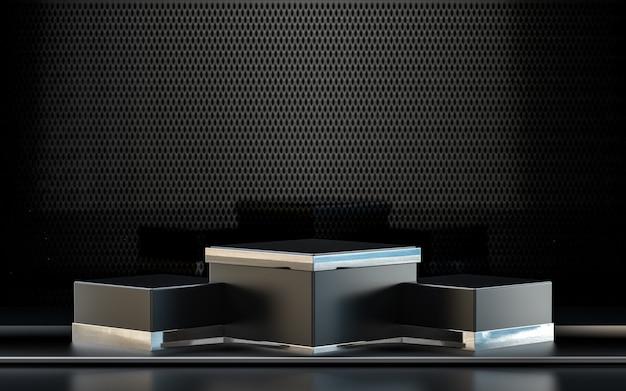 Display podio con rendering 3d metallico scuro per la presentazione del prodotto con sfondo astratto