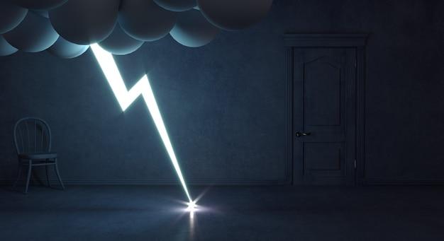Camera mistica buia e temporale