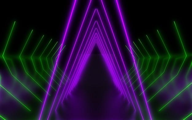 Sfondo astratto al neon scuro. illustrazione 3d