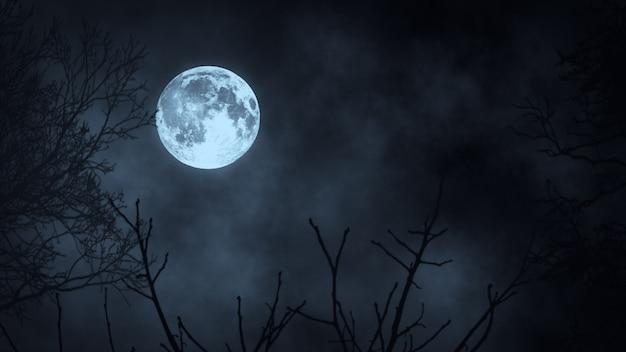 Foresta scura di notte contro l'illustrazione della luna piena 3d