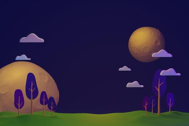 Paesaggio della foresta di notte oscura sul pianeta con l'illustrazione 3d della luna e della stella