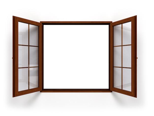 Finestra di legno aperta scura
