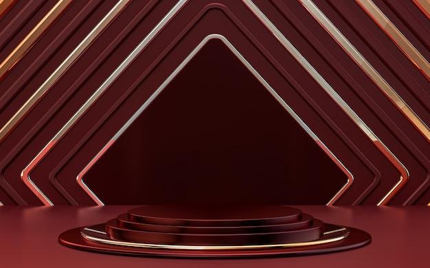 Palco del podio di lusso di forma quadrata astratta rosso scuro e argento per la promozione del prodotto rendering 3d