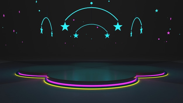 Le stanze buie danno un tocco moderno con il vetro per creare dimensione. luci al neon e rendering 3d di stelle gialle, rosa, blu.