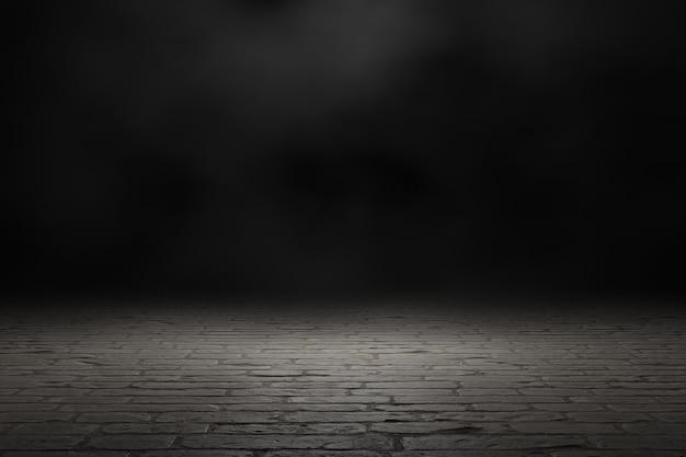 Scena scura con sfondo di fumo. rendering 3d.