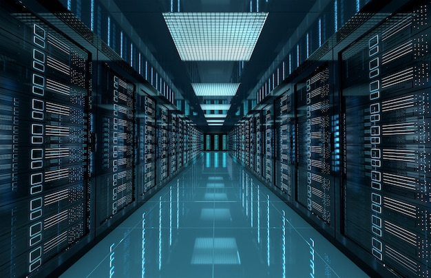 I server oscuri centrano la stanza con computer e sistemi di archiviazione
