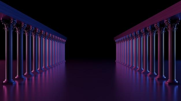 Spazio buio con passaggio di colonne