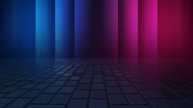 Riflessioni di asfalto bagnato strada oscura di raggi nell'acqua smog fumo astratto sfondo blu scuro faretti di luce al neon vuota scena scura