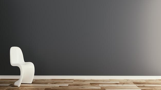 Fondo scuro della parete con la sedia bianca sul pavimento di legno. rendering 3d
