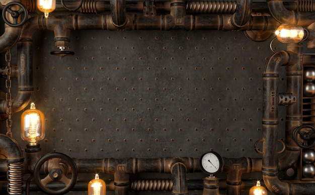 Lampada steampunk loft a parete scura da tubi