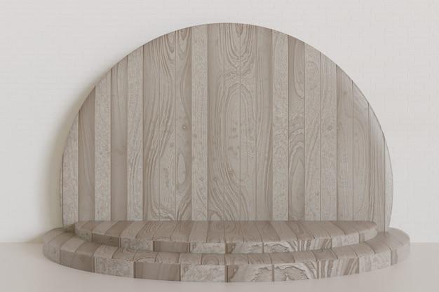 Piedistallo in legno scuro o sfondo vetrina palco, podio rendering 3d