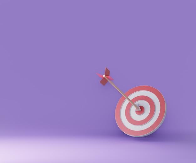 Bersaglio dardo. concetto di successo aziendale. rendering dell'illustrazione 3d di idea creativa.