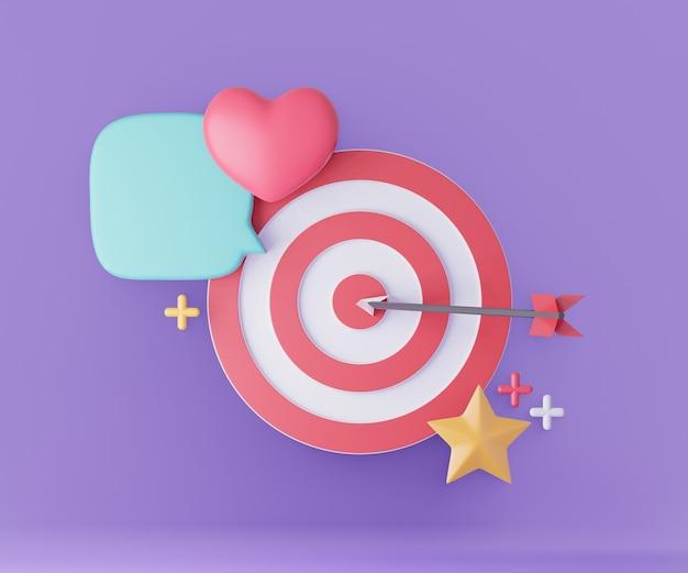 Bersaglio dardo con cuore rosso stella palloncino. concetto di successo aziendale. rendering dell'illustrazione 3d di idea creativa.