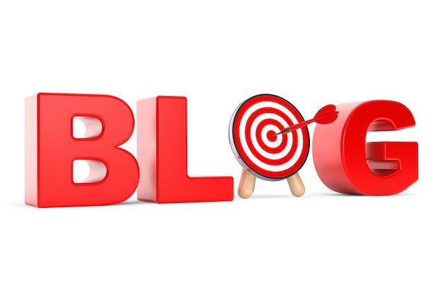 Bersaglio freccette come segno del blog su sfondo bianco