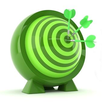 Freccette con frecce verdi al centro