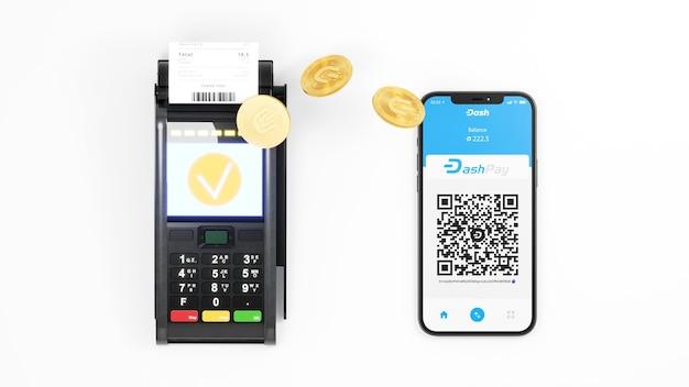 Transazioni veloci di criptovaluta del sistema dashpay. moneta crittografica digitale dash e terminale di pagamento. crypto paga tramite sfondo del telefono. rappresentazione 3d.