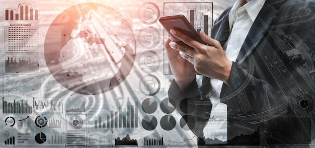 Analisi dei dati per il concetto di affari e finanza. analisi dei profitti della tecnologia informatica, mercato online.