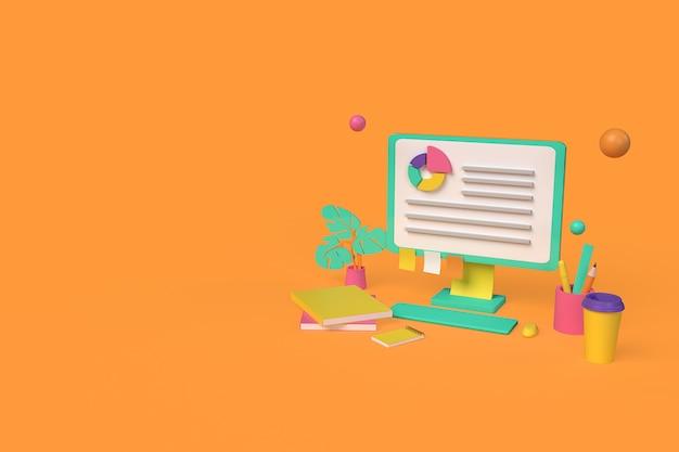 Illustrazione del rendering 3d di progettazione del concetto di analisi dei dati
