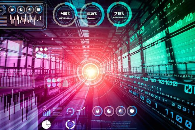 Concetto di analisi dei dati con sfondo di trasferimento digitale di movimento ad alta velocità