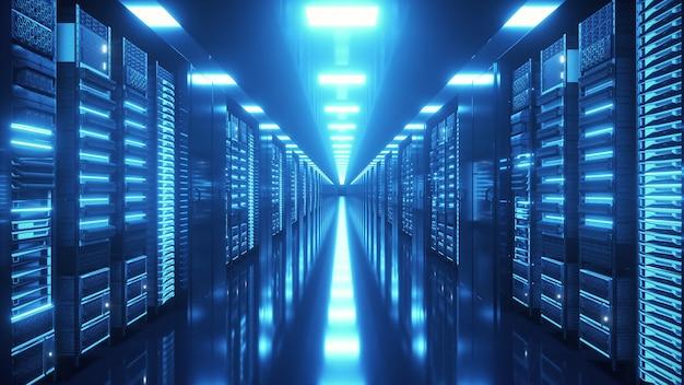 Data center con infiniti server server di rete e informazioni dietro pannelli di vetro