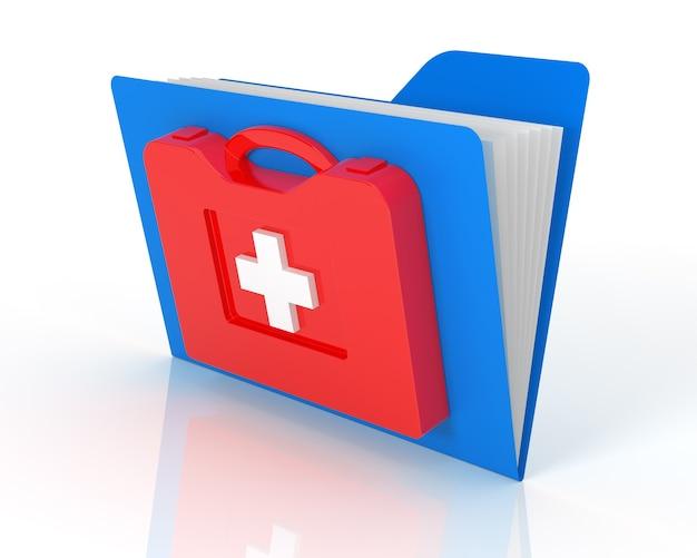 Cartelle dati nel kit di pronto soccorso. isolato su sfondo bianco.