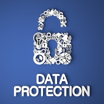 Scheda di protezione dei dati fatta a mano da caratteri di carta su sfondo blu