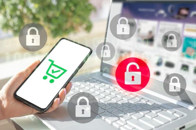 Protezione dei dati e pagamenti online sicuri. tecnologie di sicurezza internet informatica e crittografia dei dati
