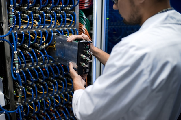Data scientist working with supercomputer
