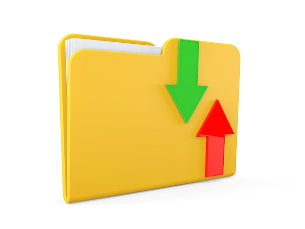 Concetto di download della data. cartella con frecce su sfondo bianco