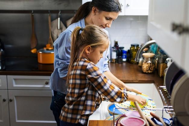 Figlia che aiuta la mamma a pulire i piatti