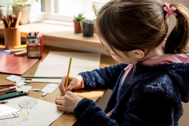 Figlia trascorre tempo felicità holiday learnig Foto Premium