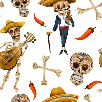 Modello senza cuciture giorno dei morti. struttura del cranio dello zucchero, carta da parati cinco de mayo su priorità bassa bianca