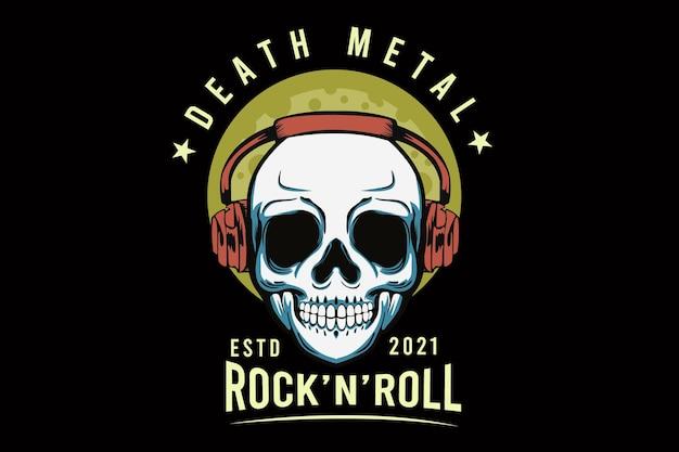 Death metal con disegno di illustrazione del teschio