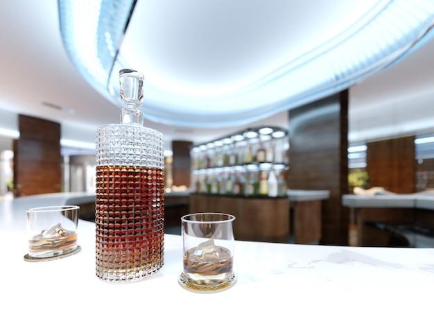 Un decanter con alcol e due bicchieri su un piano di lavoro in marmo bianco. rendering 3d.