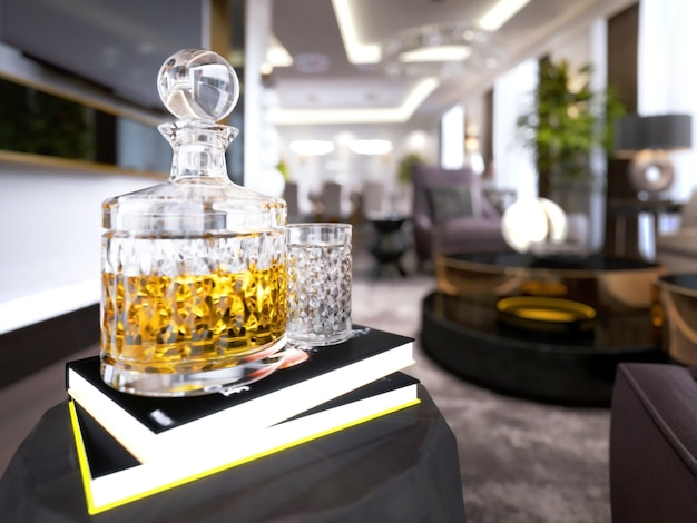 Un decanter con brandy e un bicchiere è sul libro con un comodino. rendering 3d