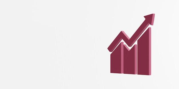 Rappresentazione dell'icona 3d di crescita economica e del lavoro dignitoso